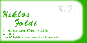 miklos foldi business card
